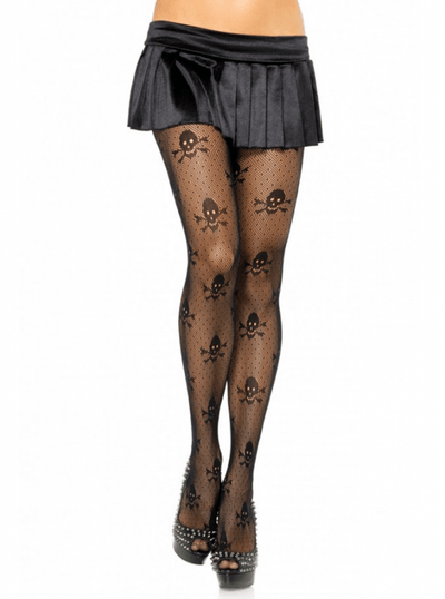 "Women's ""Micro Skull"" Tights by Leg Avenue (Black) - www.inkedshop.com"
