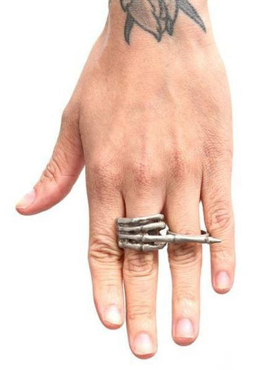 """Middle Finger"" Ring by RockLove Jewelry (White Bronze) - InkedShop - 3"