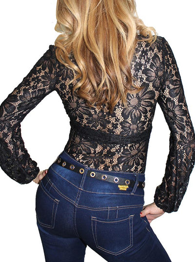 Women's Mimosa Lace Front Pinup Top by Demi Loon (Lace Noir)