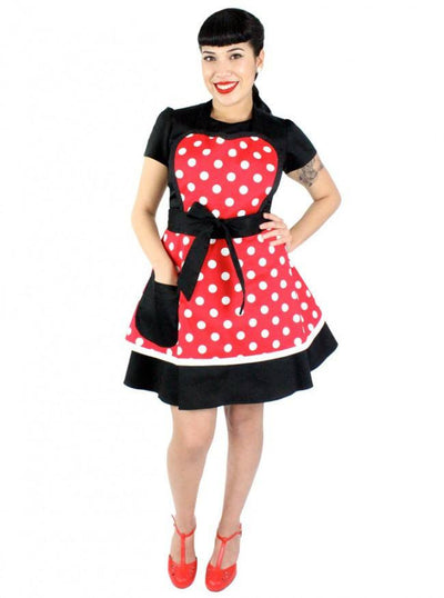 """Minnie Mouse Polkadot"" Two-Tier Apron by Hemet (Red) - www.inkedshop.com"