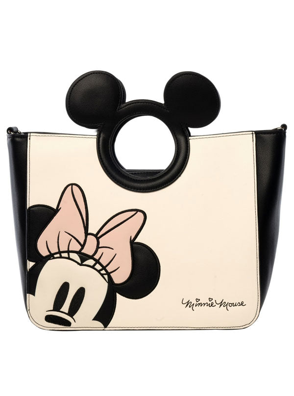 Minnie Mouse with Die-cut Mickey Handle Tote Bag by Loungefly (Black/Cream)
