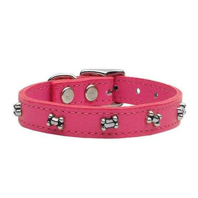 Bone Leather Collar by Mirage (Pink) - InkedShop - 1