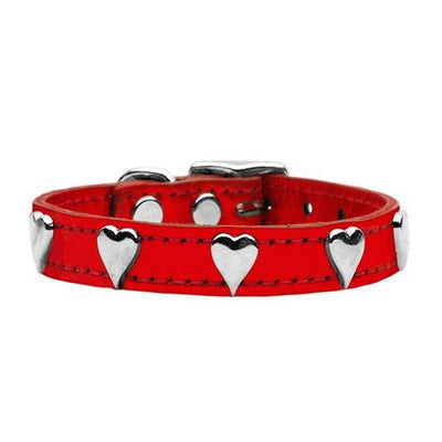 Metallic Heart Leather Collar by Mirage (Red) - InkedShop - 1