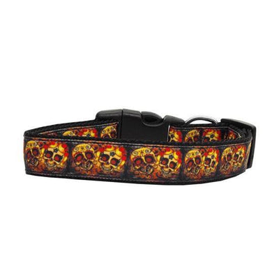 Skull Crossed Lovers Nylon Dog Collar by Mirage - InkedShop - 1