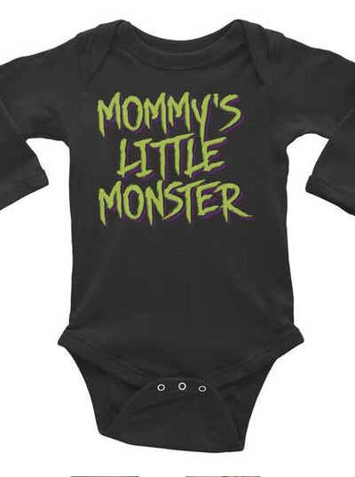 "Infant's ""Mommy's Little Monster"" Long Sleeve Onesie by Inked (Black)"