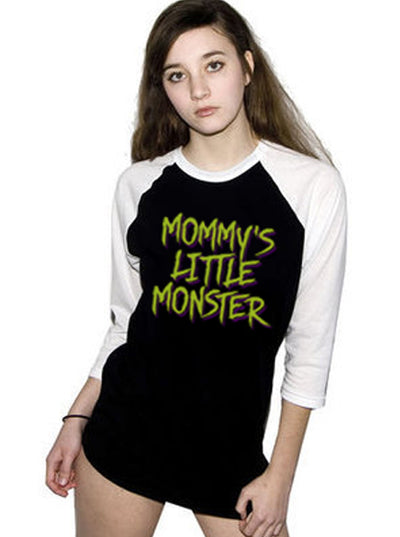 "Women's ""Mommy's Little Monster"" 3/4 Sleeve Raglan (Black/White)"