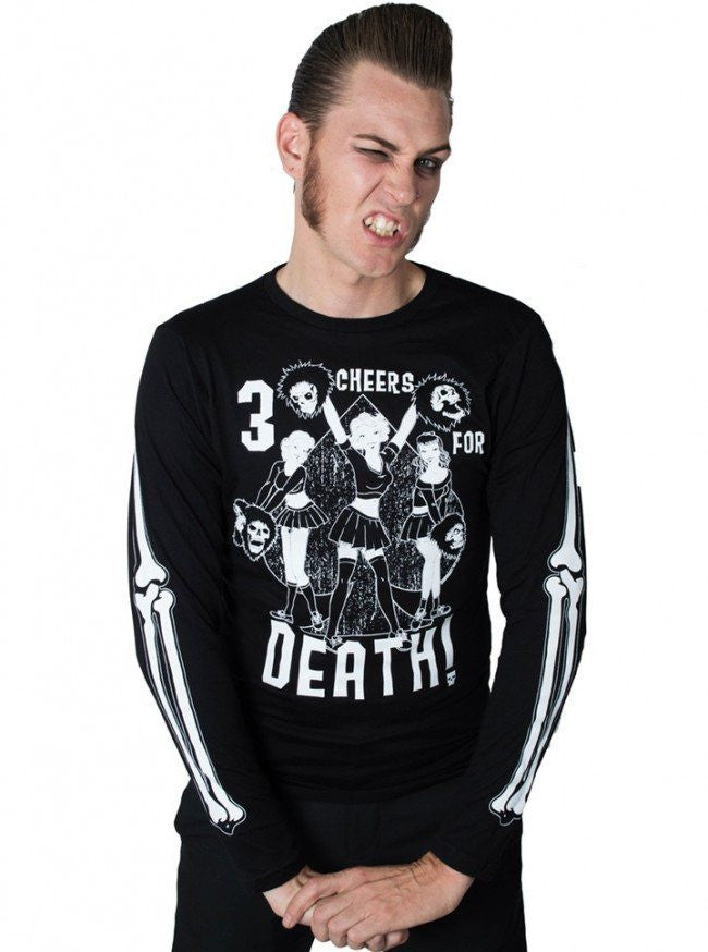 "Men's ""Three Cheers For Death"" Long Sleeve Tee by Kreepsville 666 (Black) - www.inkedshop.com"