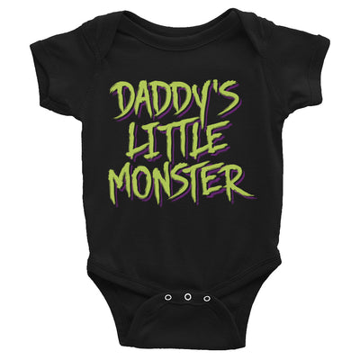 "Infant's ""Daddy's Little Monster"" Onesie by Inked (Black)"