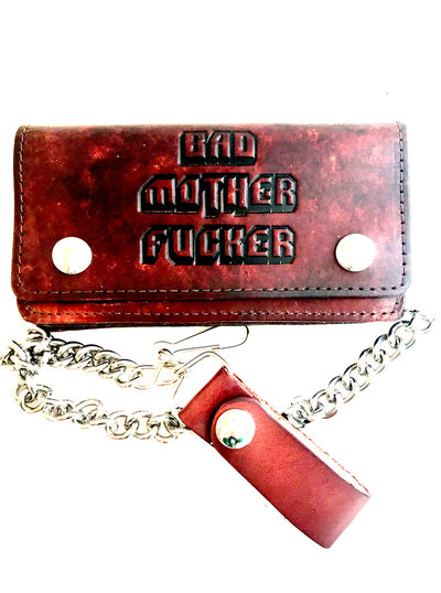 Bad Motherfucker Chain Leather Wallet by Gypsy Treasures