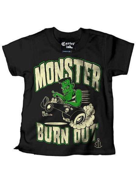 "Kid's ""Monster Burn Out"" Tee by Cartel Ink (Black) - www.inkedshop.com"