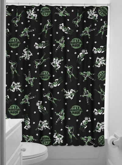 """Monster Mosh"" Shower Curtain by Sourpuss (Black) - www.inkedshop.com"