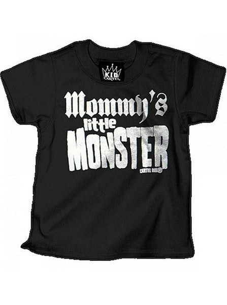 "Kid's ""Mommy's Little Monster"" Tee by Cartel Ink (Black/White) - www.inkedshop.com"