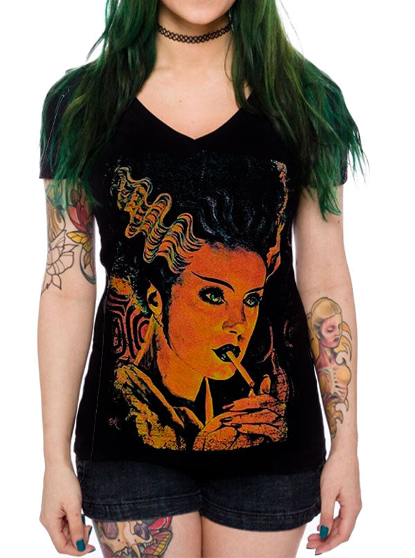Women's Monster Love V-Neck Tee by Lowbrow Art Company