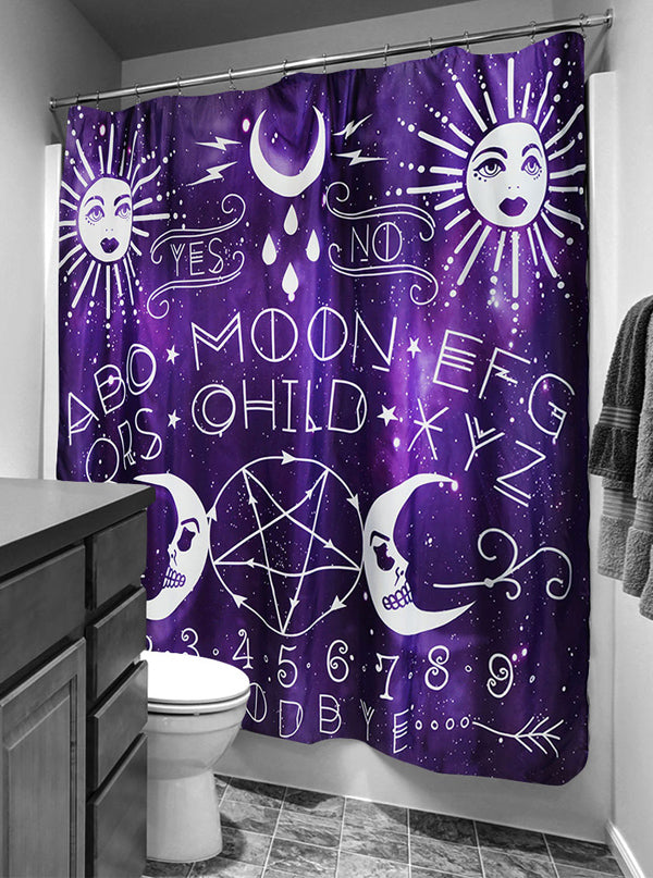 Moon Child Shower Curtain By Rat Baby Purple