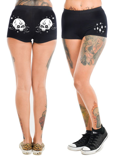 Women's Moon Skull Hot Shorts by Rat Baby