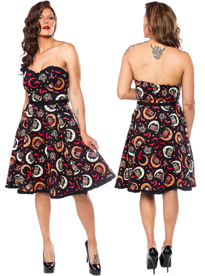 Women's Over The Moon Sweetheart Dress by Sourpuss