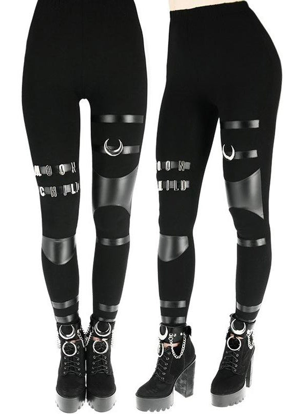 "Women's ""Moon Child"" Leggings by Restyle (Black)"