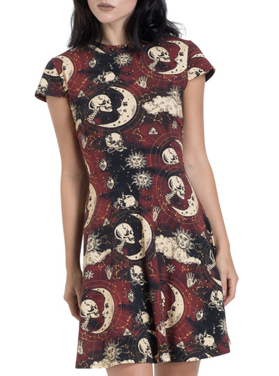 "Women's ""Moonstone"" Skater Dress by Jawbreaker (Black/Red)"