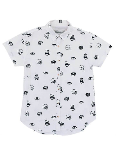 "Women's ""Morning Glory"" Button-Up Top by Pyknic (White) - www.inkedshop.com"