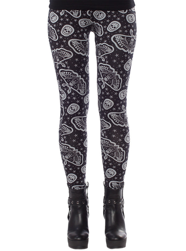 "Women's ""Death Moth"" Leggings by Sourpuss (Black)"