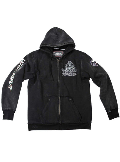 "Men's ""Gorilla Motorcyle"" Zip-Up Hoodie by Lethal Threat (Black)"