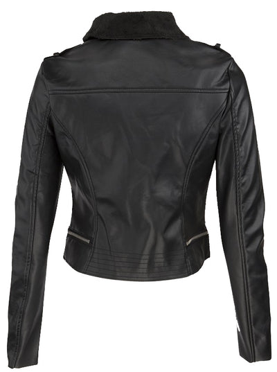 Women's Jaded Fur Lined Moto Jacket by Pretty Attitude Clothing