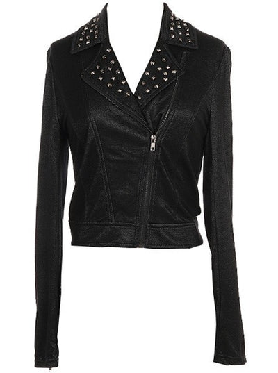 "Women's ""Studded Moto Style"" Knit Jacket by Double Trouble Apparel (Black) - www.inkedshop.com"