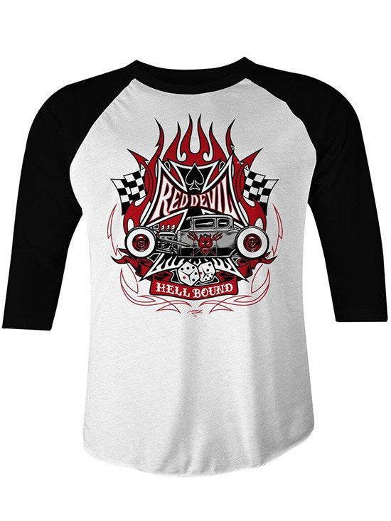 "Men's ""Hell Bound"" Raglan by Red Devil Clothing (Black/White) - www.inkedshop.com"