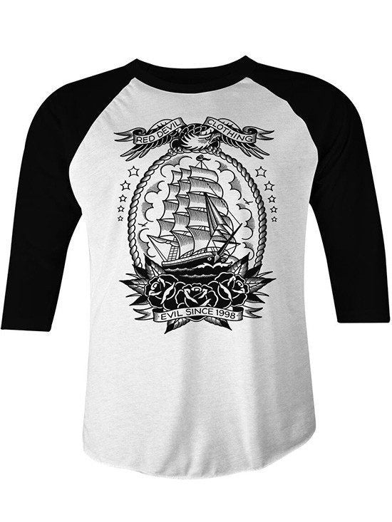 "Men's ""Mariner"" Raglan by Red Devil Clothing (Black/White) - www.inkedshop.com"