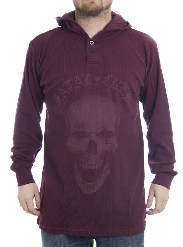 "Men's ""Club Muerto"" Hooded Thermal by Fatal Clothing (Burgundy)"