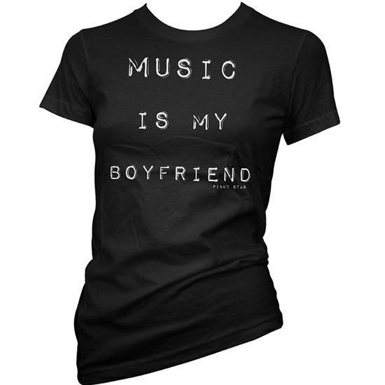 "Women's ""Music is My Boyfriend"" Tee by Pinky Star (Black) - InkedShop - 1"