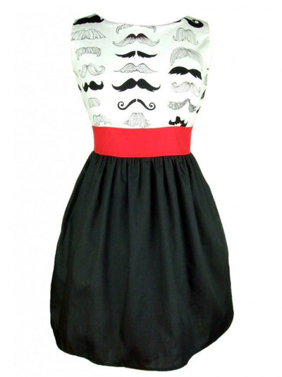 "Women's ""Head Over Wheels Mustache"" Dress by Hemet - InkedShop - 1"