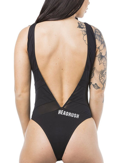 "Women's ""Mustang"" V Open Back Sheer Bodysuit by Headrush Brand (Black)"