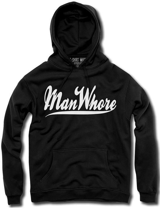 "Men's ""Manwhore"" Hoodie by The T-Shirt Whore (Black) - www.inkedshop.com"