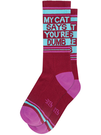 Unisex My Cat Says You're Dumb Ribbed Gym Socks