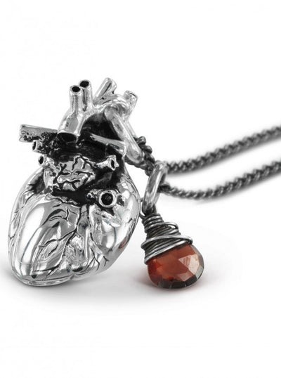 """Anatomical Heart and Garnet"" by Lost Apostle (Antique Silver) - InkedShop - 4"