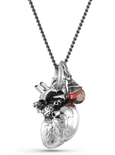 """Anatomical Heart and Garnet"" by Lost Apostle (Antique Silver) - InkedShop - 1"