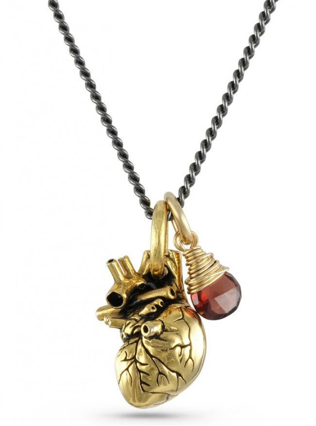 """Small Gold Anatomical Heart And Garnet"" Necklace by Lost Apostle (Gold-Plated Bronze) - InkedShop - 1"