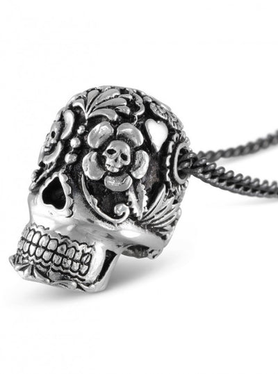 """Large Day Of The Dead Skull"" Necklace by Lost Apostle (Silver) - InkedShop - 4"