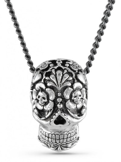 """Large Day Of The Dead Skull"" Necklace by Lost Apostle (Silver) - InkedShop - 3"