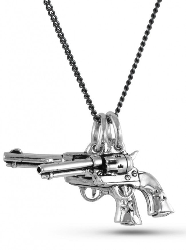 """6 Shooters"" Necklace by Lost Apostle (Antique Silver) - www.inkedshop.com"