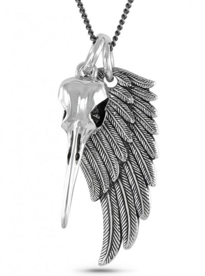 """Hummingbird Skull & Angel Wing"" Necklace by Lost Apostle (Antique Silver) - InkedShop - 1"