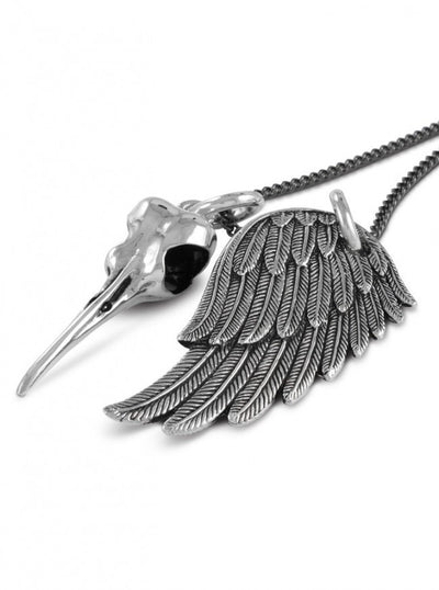 """Hummingbird Skull & Angel Wing"" Necklace by Lost Apostle (Antique Silver) - InkedShop - 3"