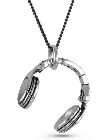 """Headphones"" Necklace by Lost Apostle (Antique Silver) - InkedShop - 3"