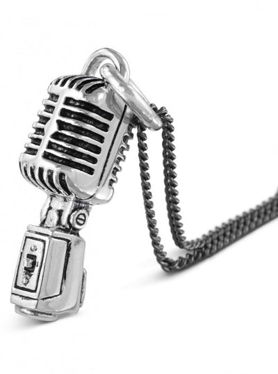 """Microphone"" Necklace by Lost Apostle (Antique Silver) - InkedShop - 3"