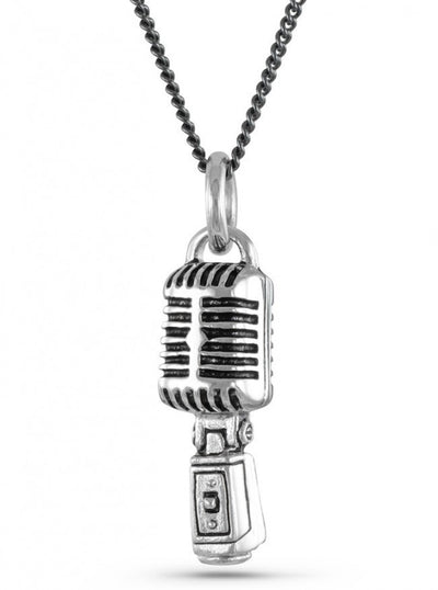 """Microphone"" Necklace by Lost Apostle (Antique Silver) - InkedShop - 1"