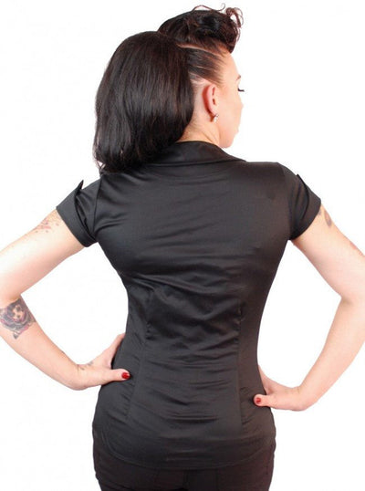 "Women's ""Tailor"" Button Up Shirt by Pinky Pinups (Black) - www.inkedshop.com"