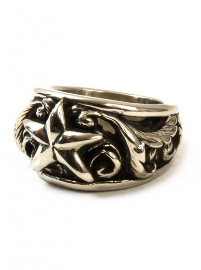 "Men's ""Scroll Star"" Ring by Aileyan (More Options) - www.inkedshop.com"