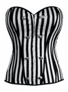 "Women's ""Nautical Striped Corset"" Top by Double Trouble Apparel (Black/White) - www.inkedshop.com"