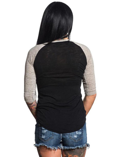 "Women's ""Needle Pusher"" Baseball Tee by Sullen (Black)"